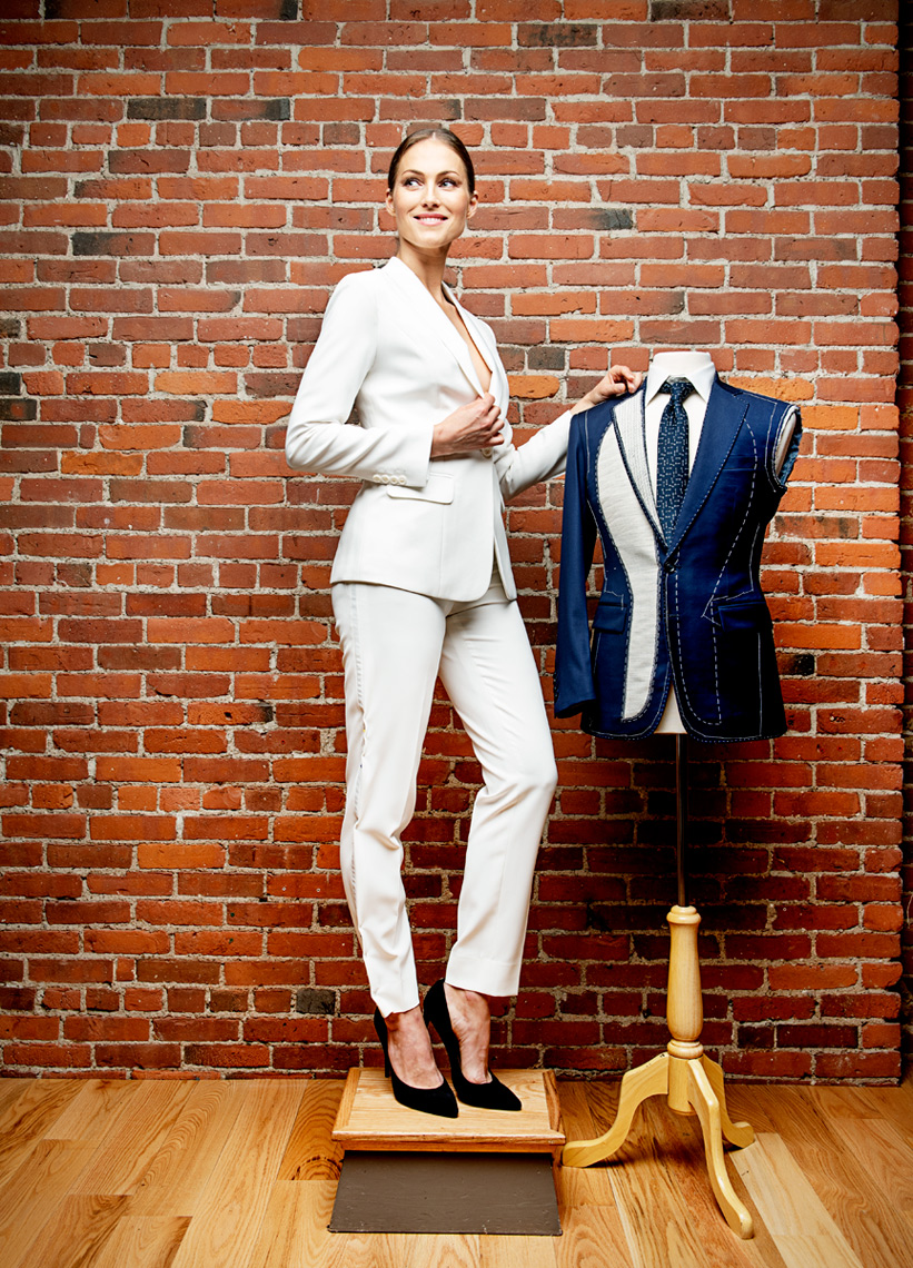 model photographed at 9Tailors Leather District Boston MA for Boston Magazine
