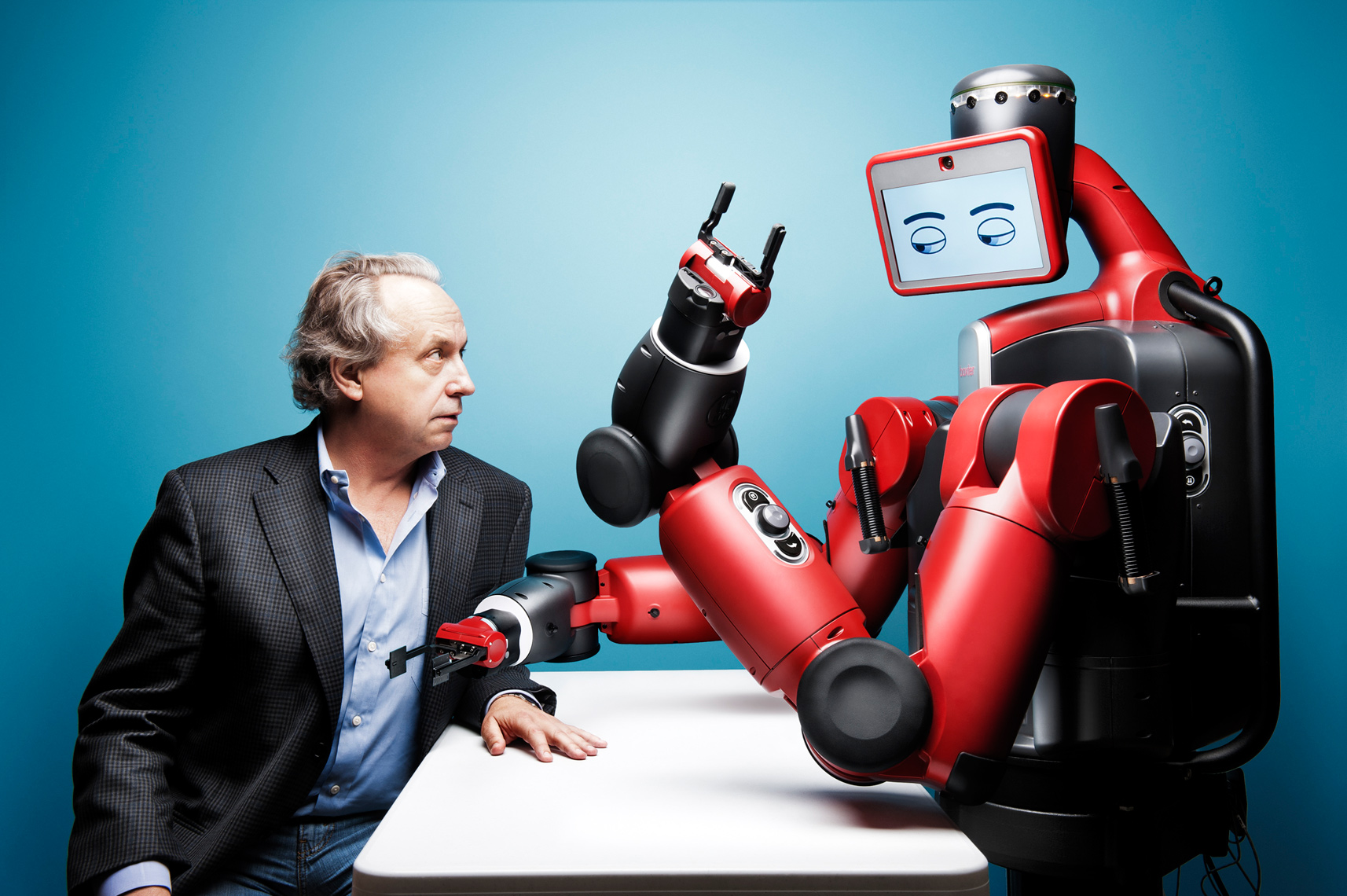 Rodney Brooks and Baxter The Robot, Rethink Robotics, for Boston Magazine
