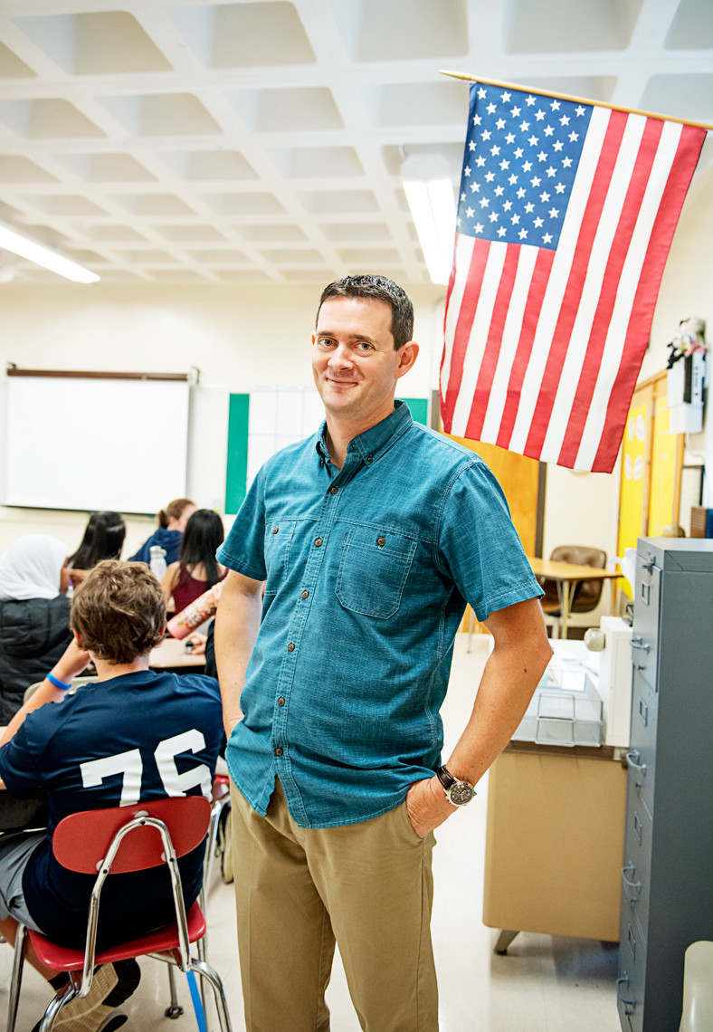 history teacher Andrew Swan of the Newton Bigelow Middle School for the Boston Globe Magazine education issue