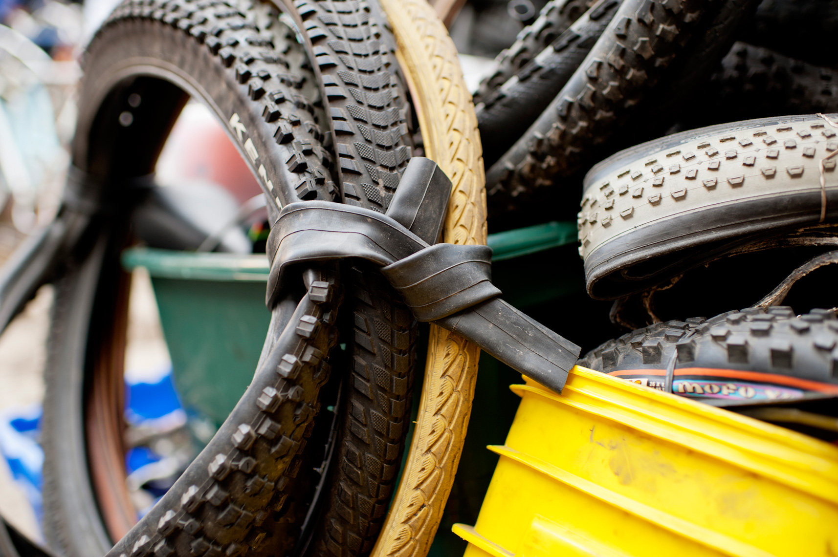 used tires packed up to be shipped to Central America through Bikes Not Bombs for community transformation