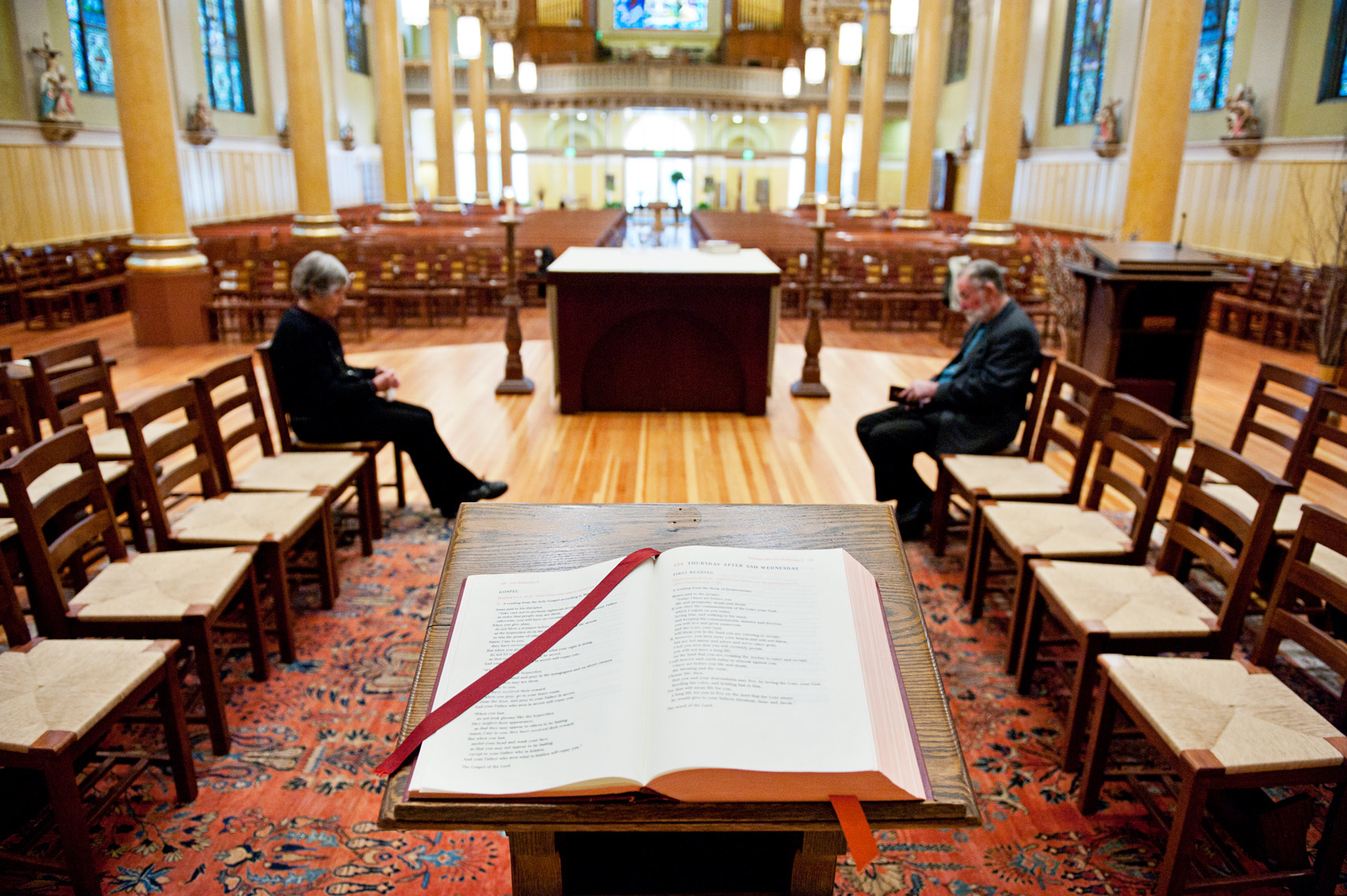 an open bible at St. Cecilia Parish in Boston