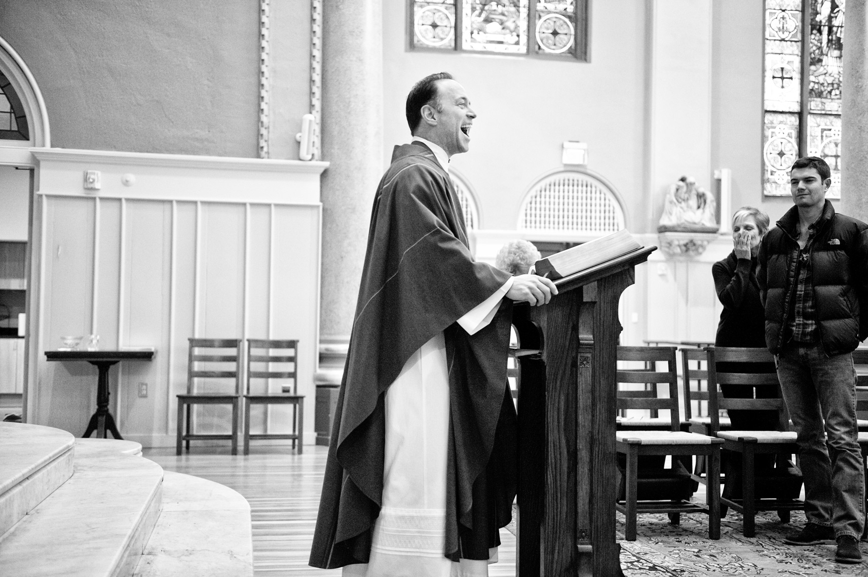 Reverend John Unni preaching at St. Cecilia Parish in Boston