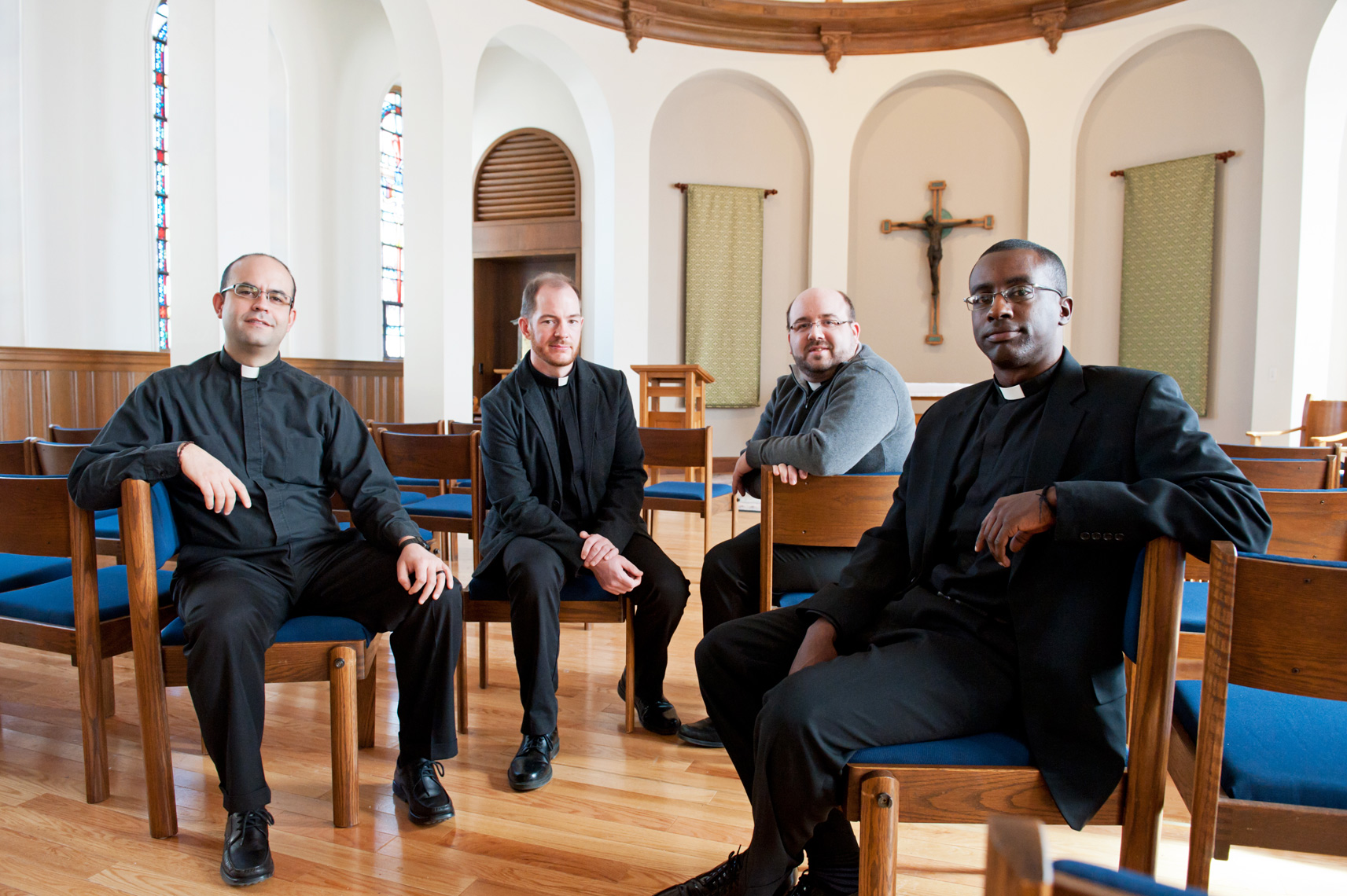 "four young Jesuits in trying at Boston College for CNN story on the ""Pope Francis effect"""