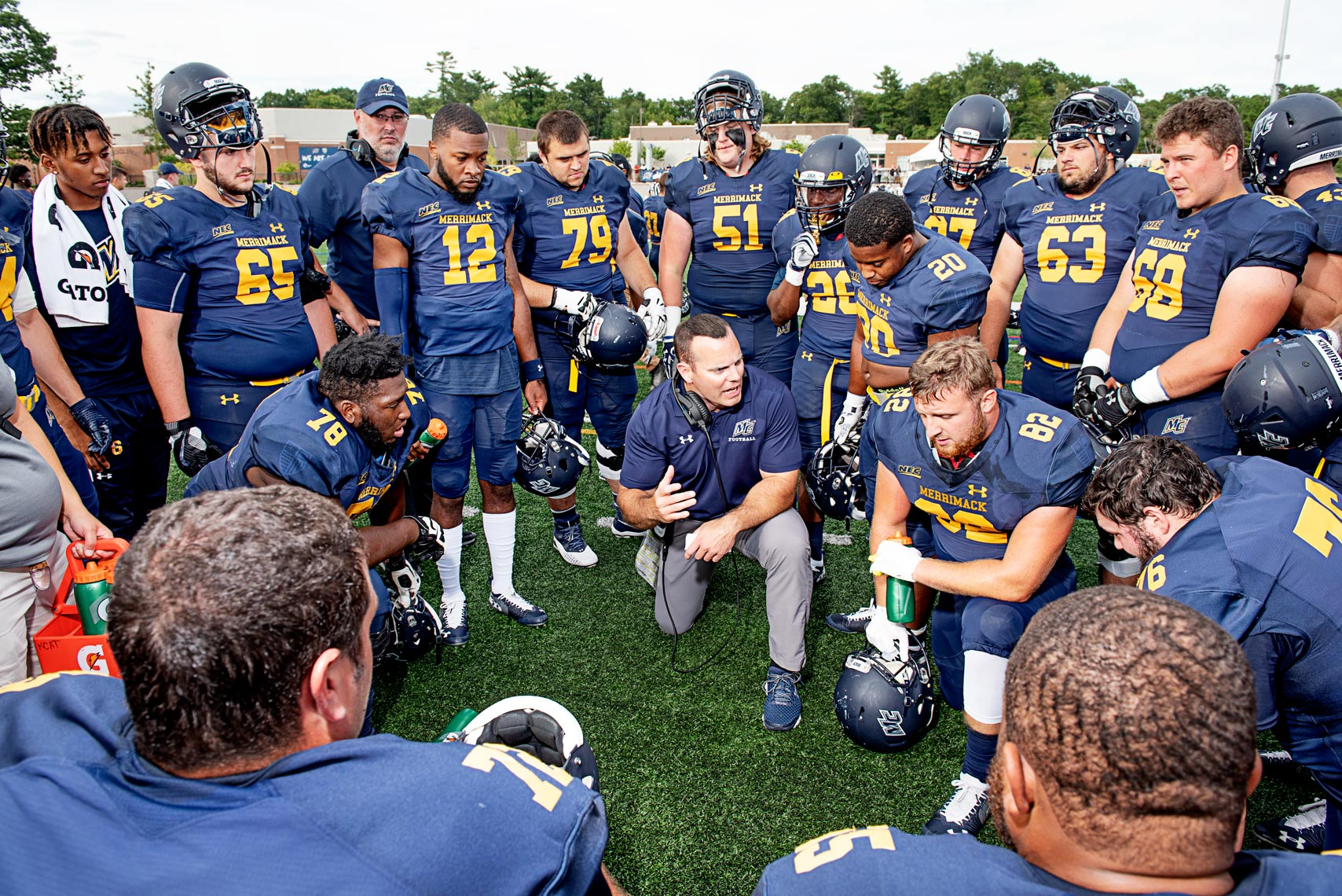 team meeting college football at Merrimack College in Massachusetts