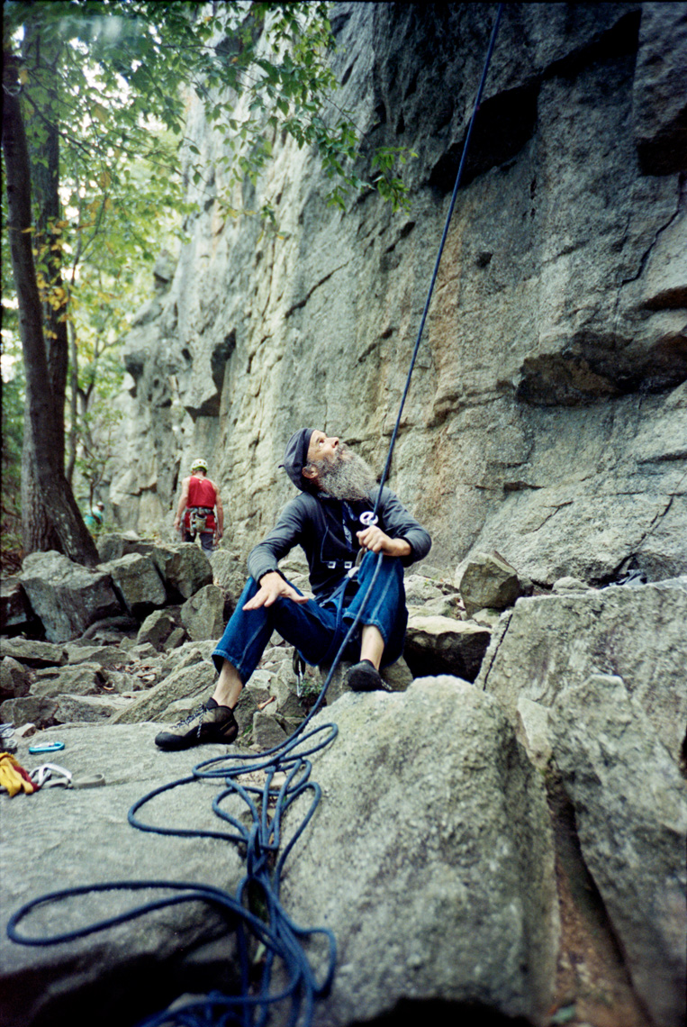 surveying the rock climbing routes on The Trapps in the Gunks New Paltz NY