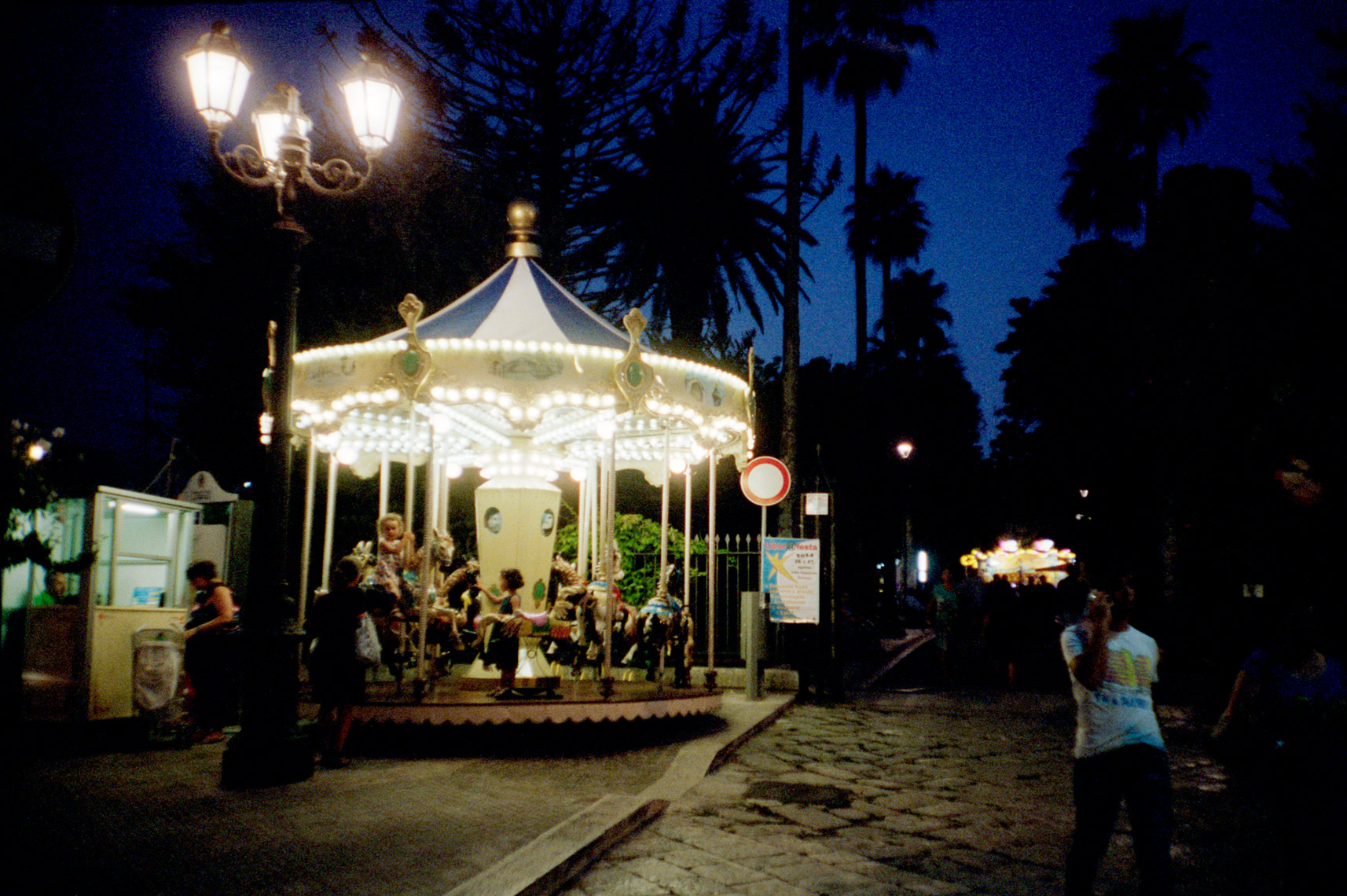 carousel at night in Ostuni Puglia Italy as part of religious carnival