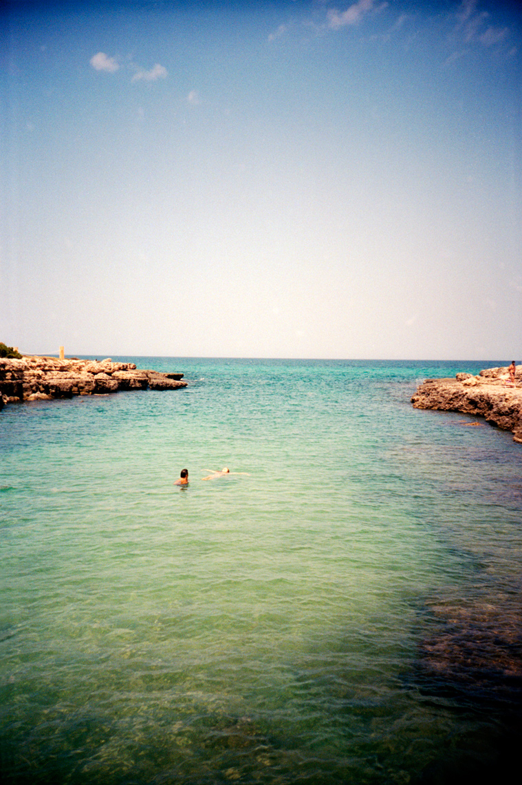 swimming in Protetta Torre Guaceto along Adriatic Coast in Puglia
