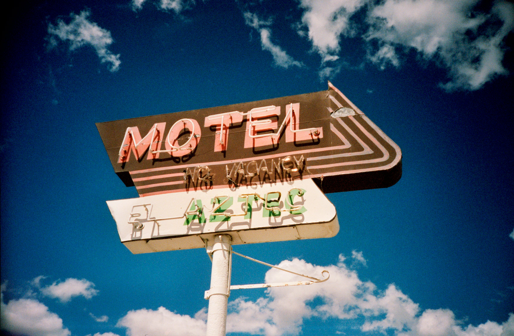 motel sign, urban landscape