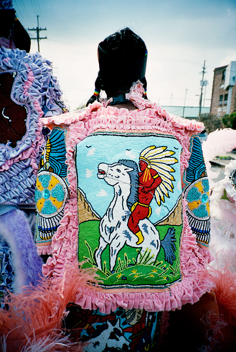 detail of handmade costume Mardi Gras Indian Parade NOLA