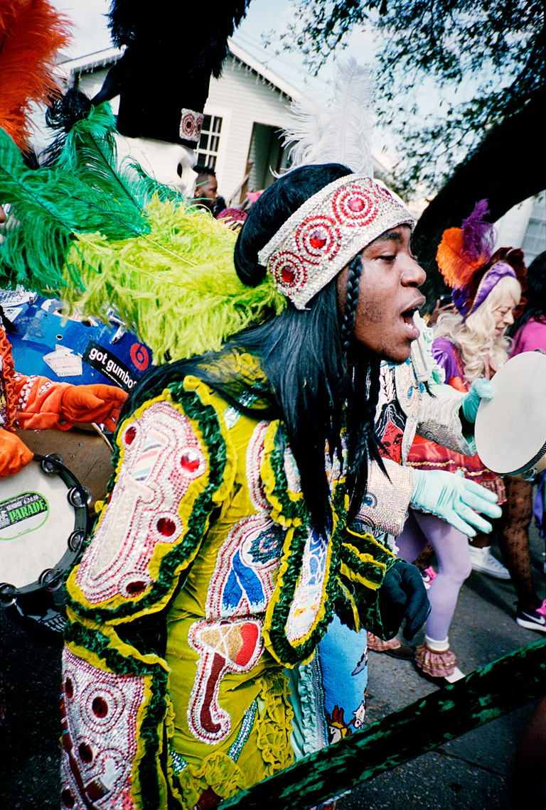 Mardi Gras Indian singing in Super Sunday Parade New Orleans