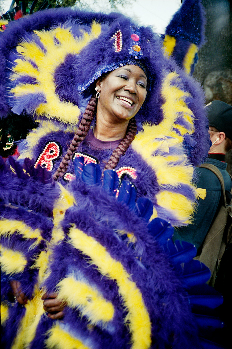 portrait of Indian Super Sunday Mardi Gras Indian Parade NOLA
