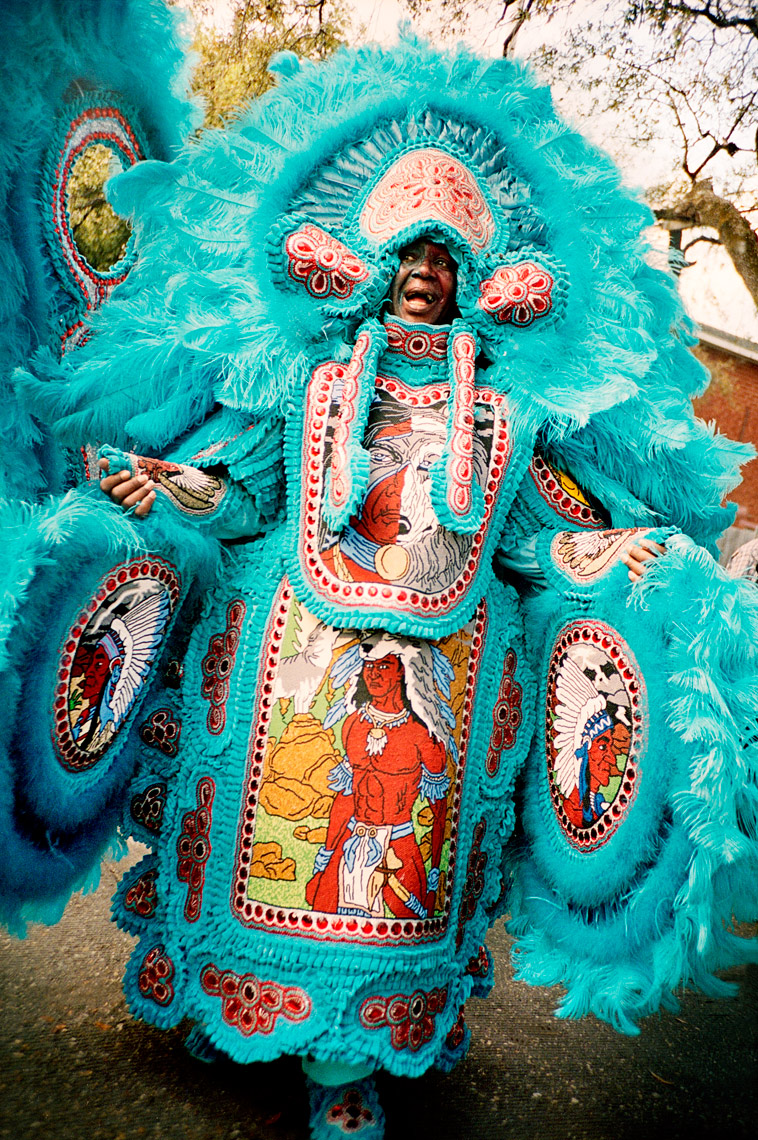 Big Chief dancing in Super Sunday Mardi Gras Indian Parade New Orleans