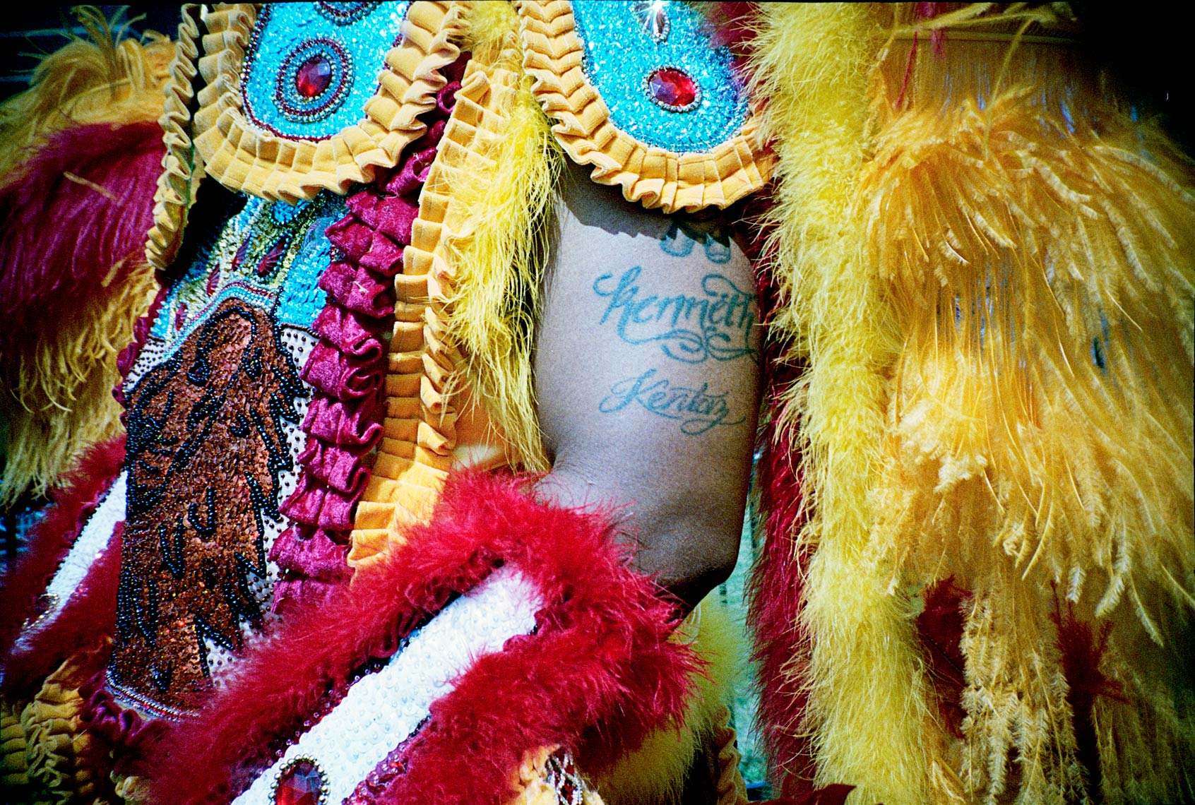 "portrait ""Big Chief"" in Super Sunday Mardi Gras Parade"