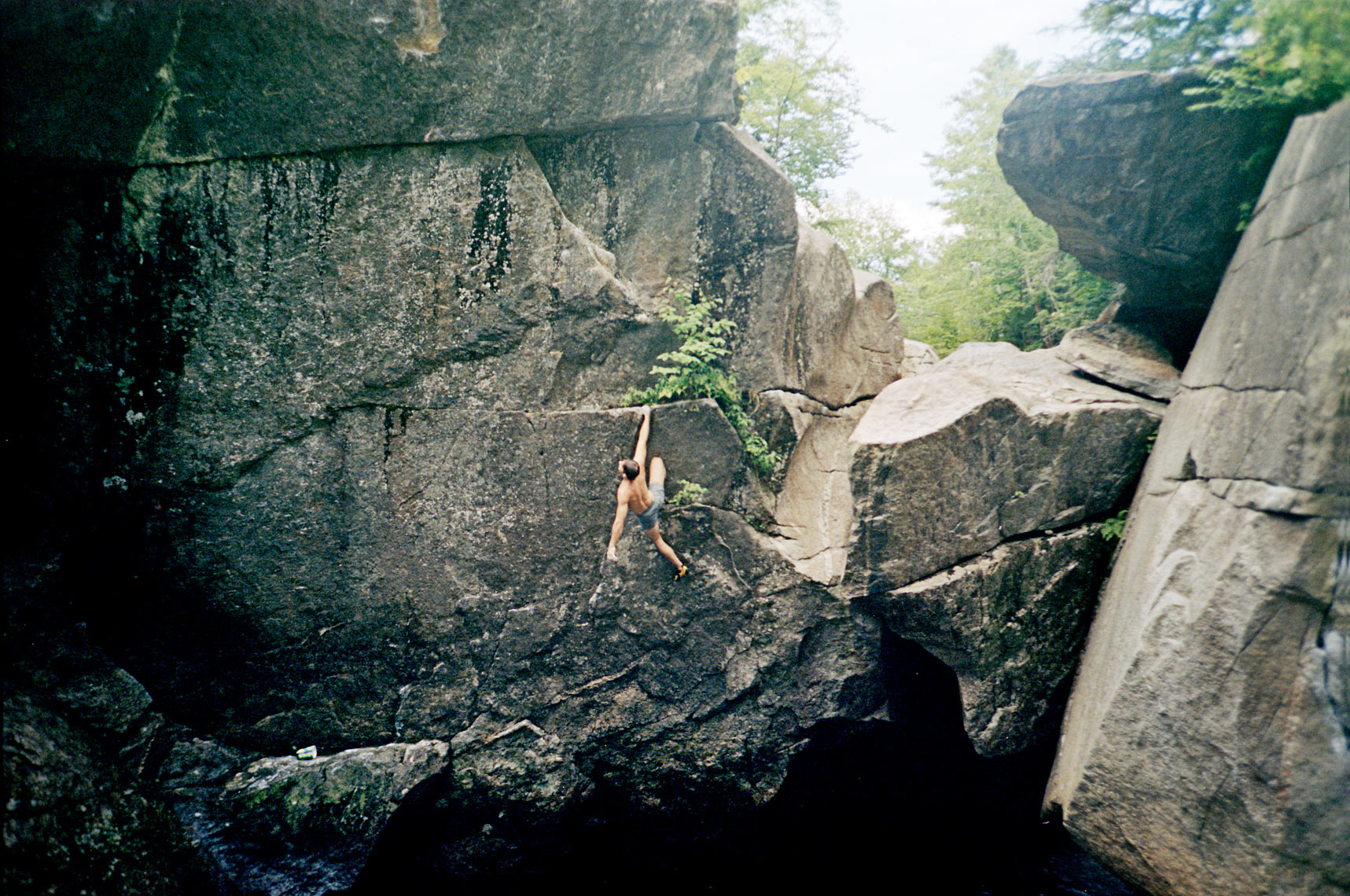 deep water soloing over the Lost River near Lost River Gorge Woodstock NH