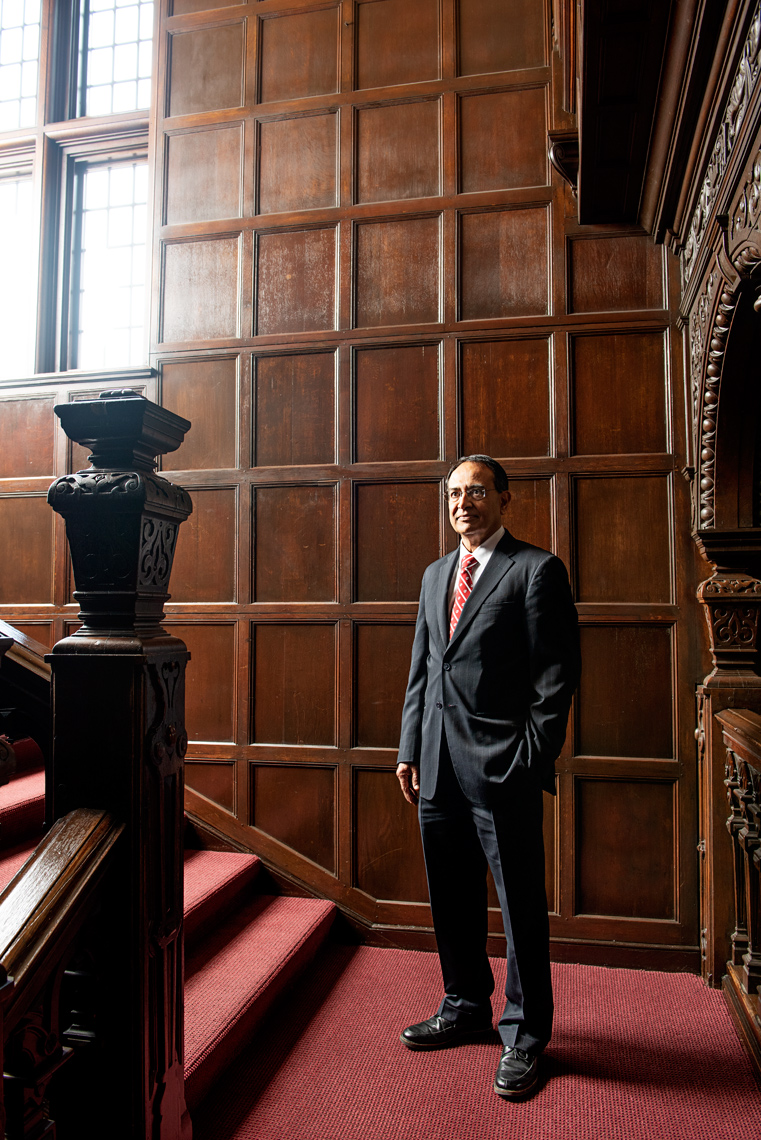 portrait UMASS chancellor Kumble Subbaswamy for Boston Globe Sunday Magazine