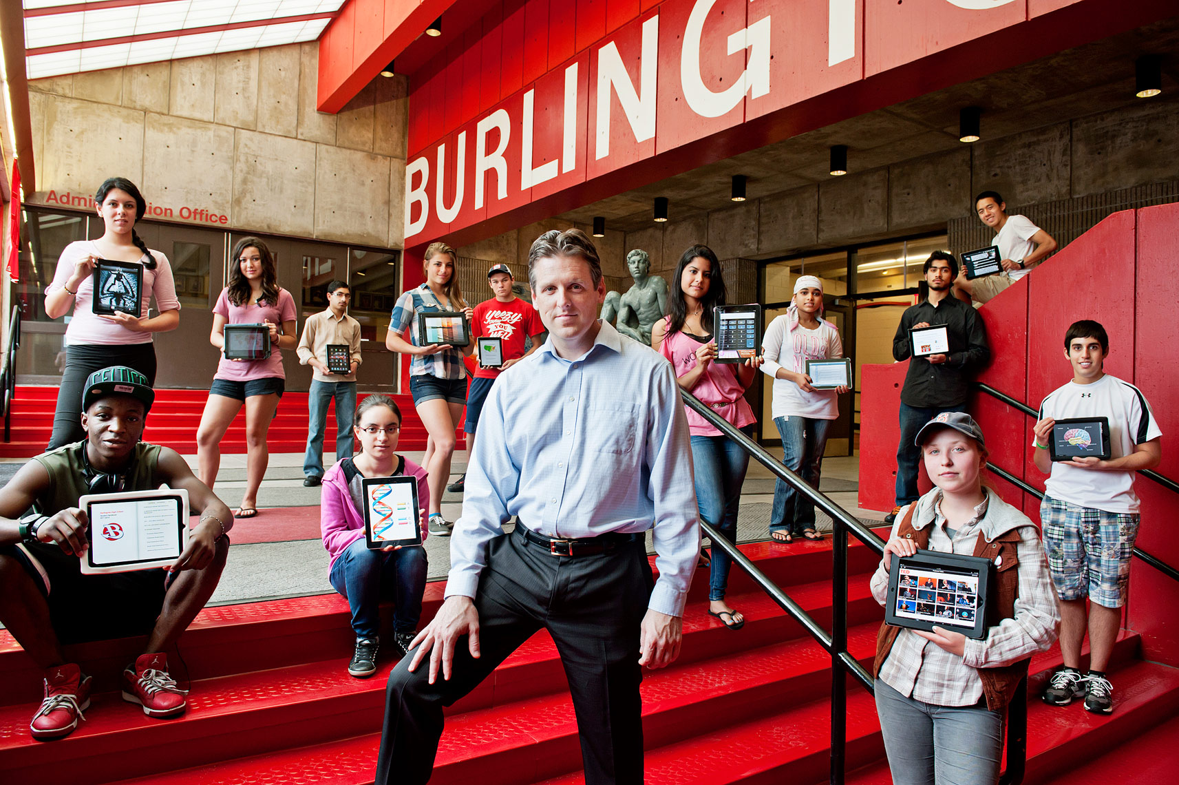 Principle Patrick Larkin at Burlington High School for THE Magazine by Webb Chappell Photography