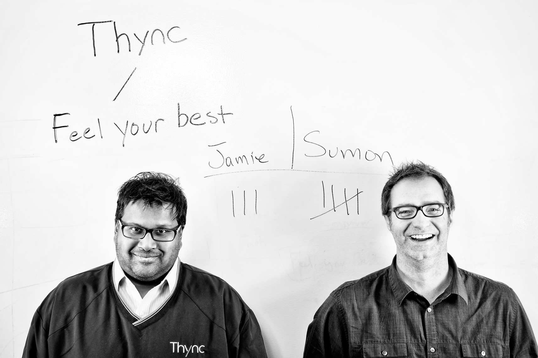 Dr. Sumon Pal and Jamie Tyler of Thync Global Inc. for the Boston Globe Magazine