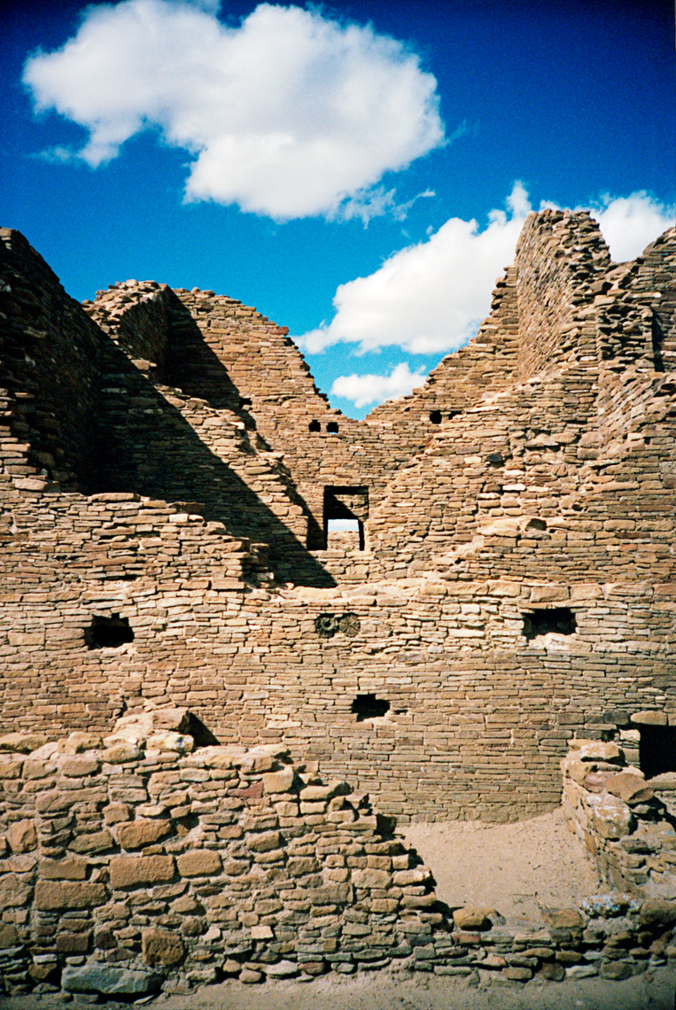 ancient Puebloan ruins in Chaco Canyon on the Navaho Reservation Arizona
