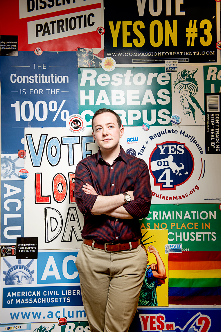 portrait of Aaron Wolfson Digital Communications Manager for the ACLU for Simmons College Magazine